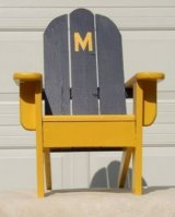 Children's chair with University of Michigan colors and block M.