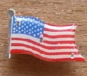 Light-up pin with flag design.