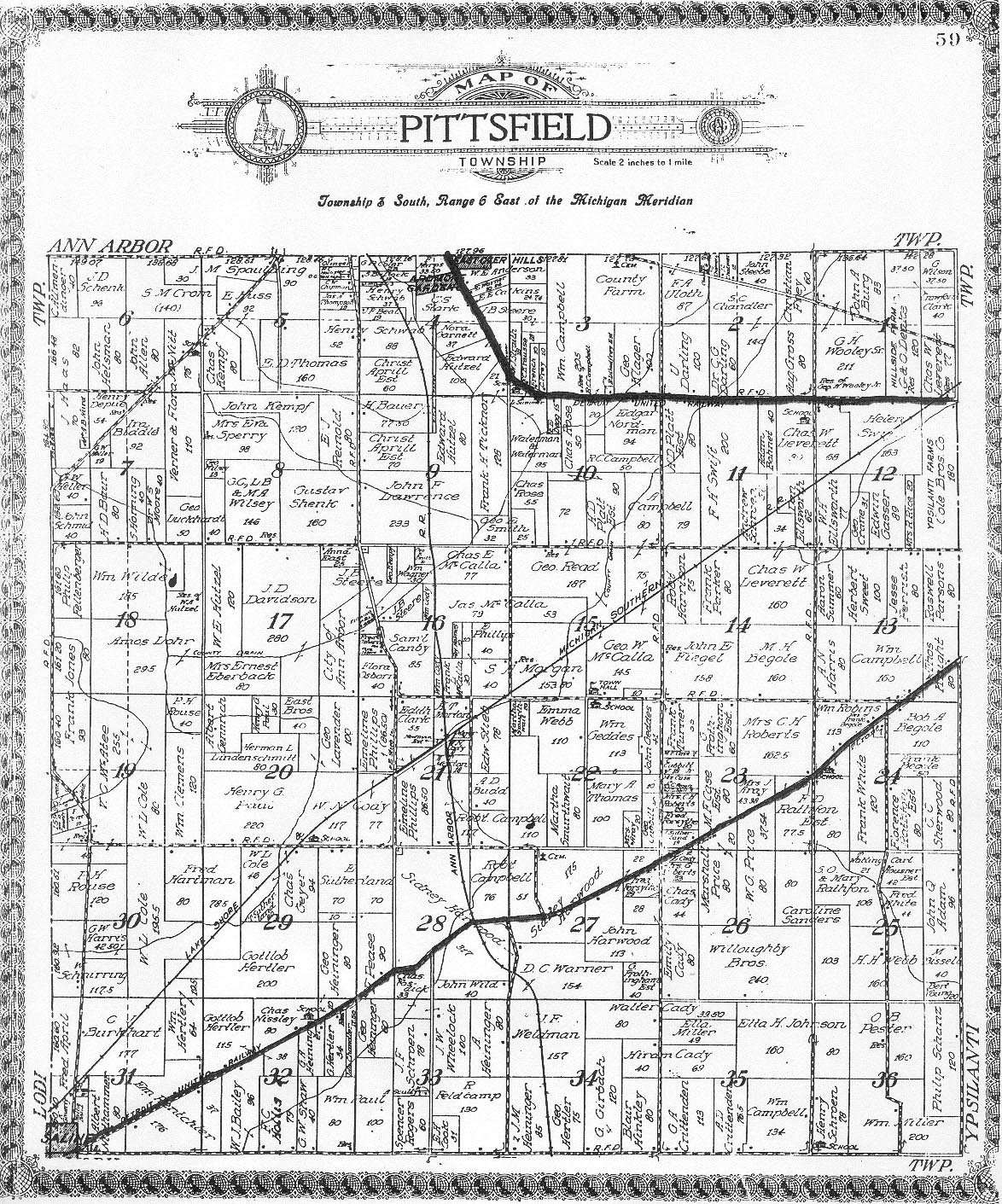 map . pittsfield township historical society  plat maps of pittsfield