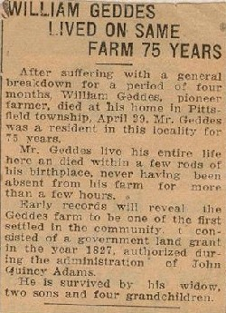 Newspaper Clipping at time of William Geddes Jr. death